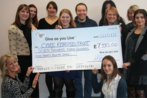 Cystic Fibrosis Trust receive Give as you Live cheque
