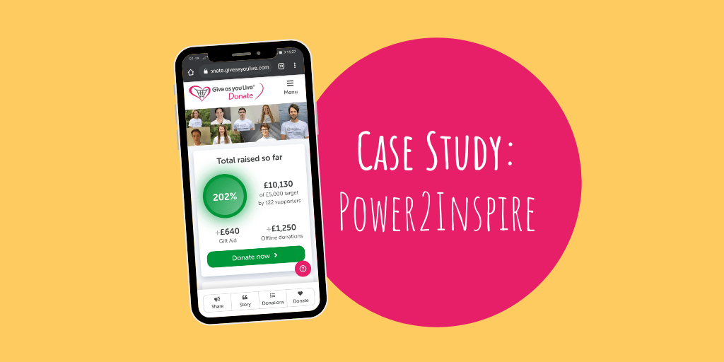 Power2Inspire: How We're Using Give as you Live Donate Fundraising Pages