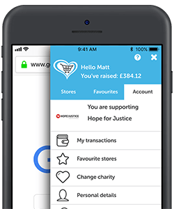 Your account panel in the Give as you Live App