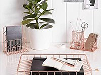 House by John Lewis Desk Tidy, Rose Gold