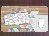 Pastel Triangle Wood Pattern Print Desk Mat with Custom Monogram