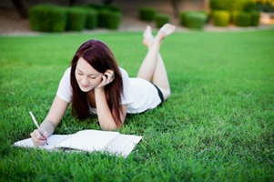 Writing on grass