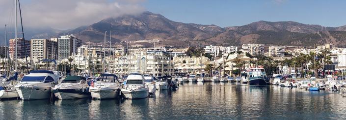 Day view of Puerto Marina. Benalmadena, Spain