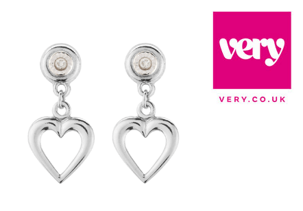 Gold 9 Carat White Diamond Drop Earrings This Beautiful Pair Of Heart Will Make A Special Addition To Your Jewellery Collection