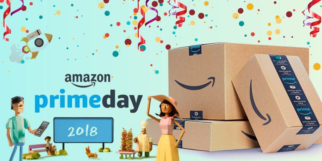 An Amazon Prime box next to text which says Amazon prime day 2018